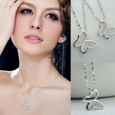 New 925 Sterling Silver Women Butterfly Crystal Necklace Pendant Jewelry Gift
