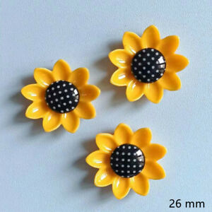 30pc Yellow Resin Sunflowers Flatback Buttons for Crafts Hair Clips Decor 26 mm