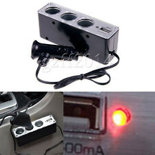 1x  Multi Socket 3 WAY Car Cigarette Lighter Splitter USB Charger Adapter 12/24V