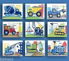 CONSTRUCTION VEHICLE CAR TRUCK BUSY BUILDER BABY BOY NURSERY WALL ART prints