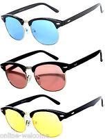 Set of 3 Half Frame Semi Rimless Horn Rim Sunglasses Pink Blue Yellow Gradient
