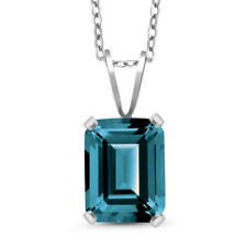 2.30 Ct Octagon London Blue Topaz 925 Sterling Silver Pendant With Chain