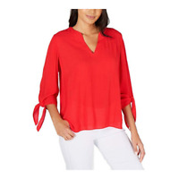 MICHAEL Michael Kors Womens Textured Split Neck Top Tie 3/4 Sleeve Red Small New
