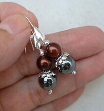 Dainty Black Hematite W. Bronze South Seashell Pearls Sterling Silver Earrings
