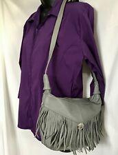 New Gray Fringe Leather Purse Shoulder Bag Hobo Western