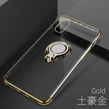 Car Ring Stand Holder Transparent Clear Case Cover for iPhone X XS MAX 6 7 Plus