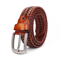 Mens Genuine Leather Dress Casual Weave Braided Belts Pin Buckle Waistband Strap