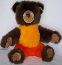 Vtg Steiff Happy Teddy Bear Brown Orange Yellow Plush Germany Soft Fur 6110/35