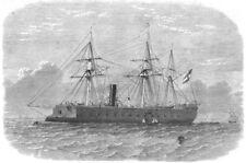 DEVON. The Kaiser Max, Austrian Steam-Ram, in Plymouth sound, old print, 1865