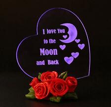 Gift For Her Birthday Ideas Present LED Light Heart Decoration Roses Home Decor