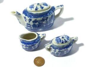 Vintage Miniature Dolls Tea Willow Pattern Blue White Teapot Milk Jug Sugar Bowl