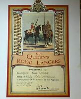 Original 9th Queens Royal lancers Service Certificate Stanley John Lawrence