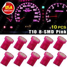 10X Purple/Pink T10 8-SMD LED Bulbs Dash Speedometer Light W5W 168 194 192 158