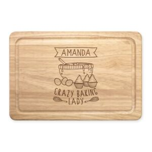 Personalised Name Crazy Baking Lady Rectangular Wooden Chopping Board Custom
