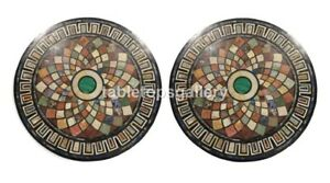 "24"" Pair of Marble Coffee Table Top Geometrical Inlay Design Interior Decor B151"
