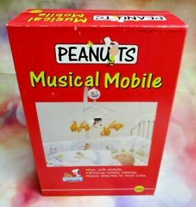 Vintage Peanuts Musical Mobile, Silgo Snoopy Baby, 1991 New In Box, Woodstock