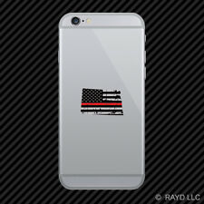 Distressed North Dakota Shaped Subdued US Flag Thin Red Line Cell Phone Sticker