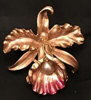 Vtg Orchid Brooch Enamel Flower MOD Pink Gold Pearl Pin Art Nouveau Deco Iris