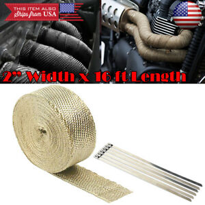 "2"" 15 ft Exhaust Header Downpipe Pipe Tan Heat Wrap 6 Ties For Nissan Infiniti"