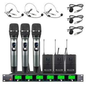6 Channel Pro Audio Wireless Microphone System UHF 3 Handheld 3 Headset Lavalier