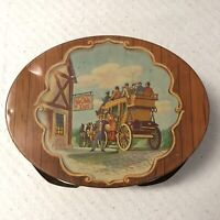 TIN YE OLDE INN DUTCH MAID BISCUIT OVAL TIN W HANDLES SEWING PICNIC