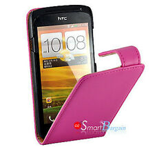 Premium PINK Flip Leather Case Cover for HTC ONE S + Screen Protector