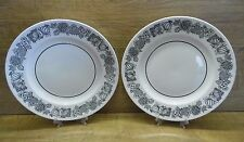 "2 x Grindley Pottery Manitou Ironstone 10"" Dinner Plates White & Black"