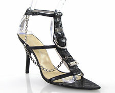 Gianmarco Lorenzi Black Croc Leather D-Ring Chain High Heel Sandals 95mm 38 7.5