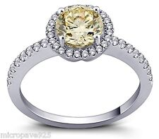 Canary Yellow Cubic Zirconia Stones Pave Setting Ring Sterling Silver Size 8.5