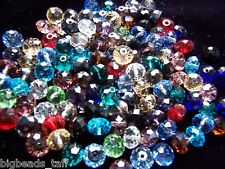 50pcs flat round faceted sparkly assorted crystal beads 8x6mm