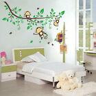 3 Cheeky Monkey on Tree Branch Wall Sticker Removable Decals Kids Nursery Decor