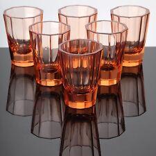 6 alte Becher Gläser Facetten Farbglas Buntglas lachs orange ~ Art Deco 7,5 cm