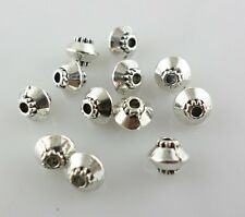 60pcs Tibetan Silver Smooth Double Cone Charm Loose Spacer Beads 4x5mm