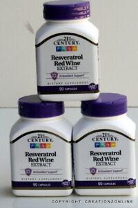 3 BOTTLES TOTAL 270 CAPS 21ST CENTURY RESVERATROL RED WINE EXTRACT ANTIOXIDANT