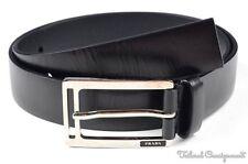 PRADA Solid Black Leather Silver Buckle Mens Luxury Dress Belt - 95 / 38
