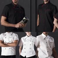 Women Men Chef Jacket Coat Hotel Kitchen Summer Thin Waiter Uniform Short Sleeve
