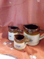 Vintage Set Brown Glazed Ceramic Crock Measuring Cups Kitchen Collectible Decor