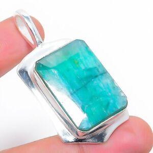 "Skota Emerald Gemstone Handmade 925 Silver Jewelry Pendant 1.77"" o651"