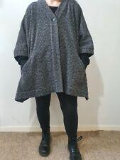 Oska Wool blend Lagenlook Arty Oversized Cocoon Coat Free size 14 16 18 Pockets