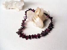 Bracelet élastique perles de grenat losange - grenat rouge gemme pierre fine