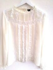 Victorian White-Cream Chiffon Lace-frill Blouse Sleeve Blogger Fav L 10 12