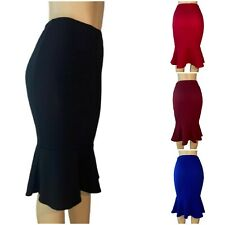 Midi Peplum Skirt Pencil Mermaid Style Skirt,Solid,Made IN USA**Falda Negra**