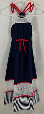 Bonnie Jean Maxi Dress Girls Size 8 Red White Blue Sleeveless NWT