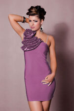 vestito monospalla tubino abito da cocktail con Fiore Violetto J11