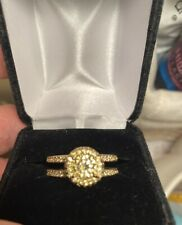 Yellow Cz Ring Size 9 Qvc Sterling Silver 925 Diamonique Halo