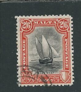 MALTA 1926-27 2s6d BLACK & VERMILION FU SG 169 CAT £55