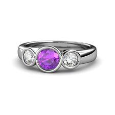 Amethyst & Diamond Infinity Three Stone Ring 1.77 cttw in 14K Gold JP:108933