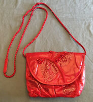 Grace Ann Agostino red snakeskin and embossed leather small shoulder bag