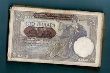 WWII  YUGOSLAVIA SERBIA 100 DINARA 1941 .G. * 1/2 BUNDLE - 50 pics