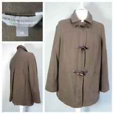 M&S WOMAN Wool Blend Duffle Coat Size 16 Olive Green Zip Warm Winter Womens A755